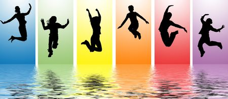 woman jump: jumping people in water ripples Stock Photo