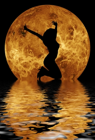 body of water: dancing woman in front of moon