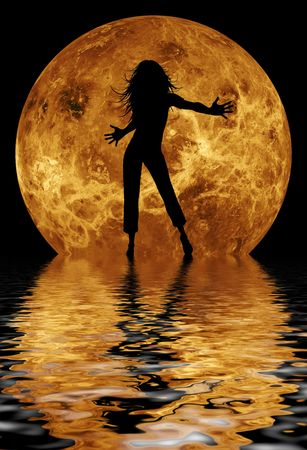 dancing woman in fron of moon photo