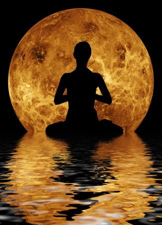 yoga in front of moon