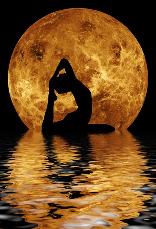 body posture: yoga in front of moon
