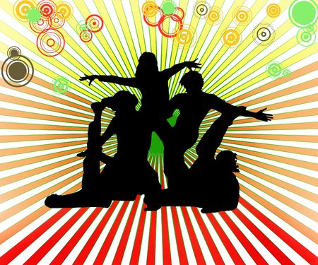 streaking: dancing group Stock Photo