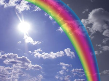 cloudy sky with rainbow   photo