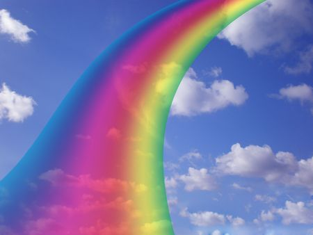cloudy sky with rainbow Stock Photo - 3215603