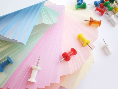 posting: colorful sheets and push pins     Stock Photo