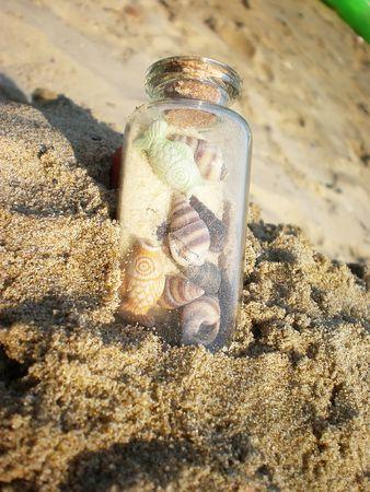 bottle on sand     photo