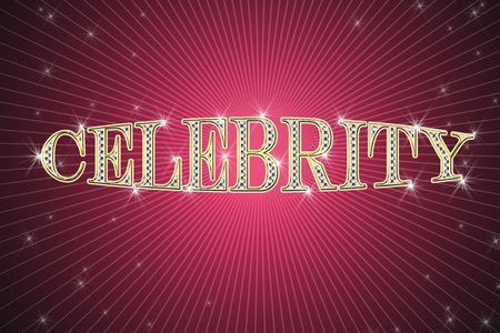 golden sign, written word celebrity on red background with stars photo