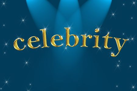 golden sign, written word celebrity on blue background with stars photo