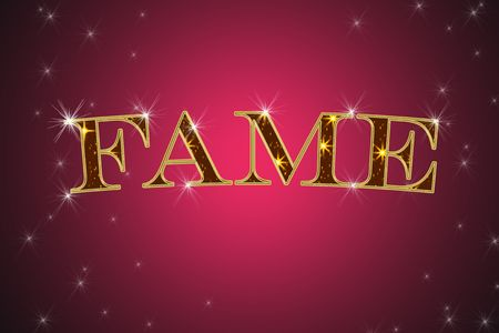 golden sign, written word fame on red background with stars photo
