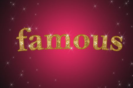 golden sign, written word famous on red background with stars photo
