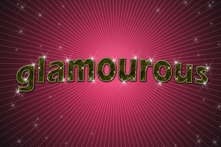 golden sign, written word glamourous on red background with stars photo