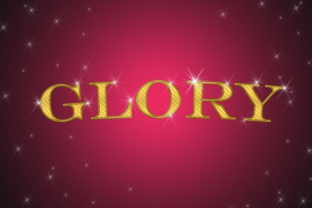 golden sign, written word glory on red background with stars photo