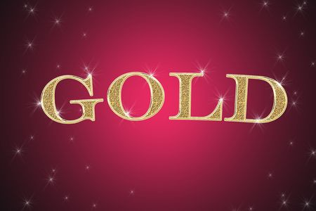 glisten: golden sign, written word gold on red background with stars Stock Photo