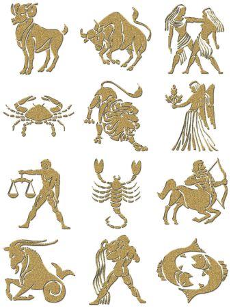 signes du zodiaque: signes du zodiaque avec la texture d'or Banque d'images