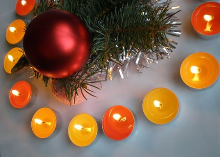 Christmas ornament with romantic candle light decoration     photo