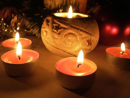 matte: Christmas ornament with romantic candle light decoration