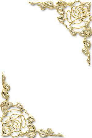 marcos decorados: Golden floral marco de una invitaci�n de boda Foto de archivo