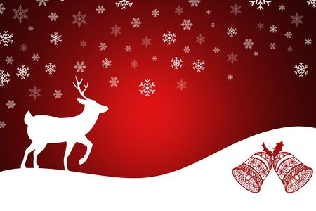 merry mood: Christmas illustration with reindeer on red with falling snowflakes Stock Photo