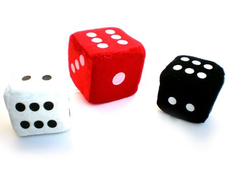 falling cubes: red, black and white dice isolated on white background Stock Photo