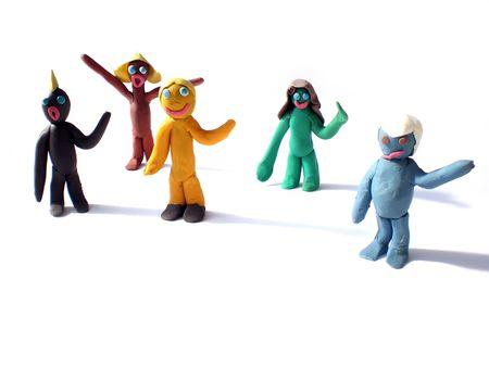 plasticine people figures saying hi on white background photo