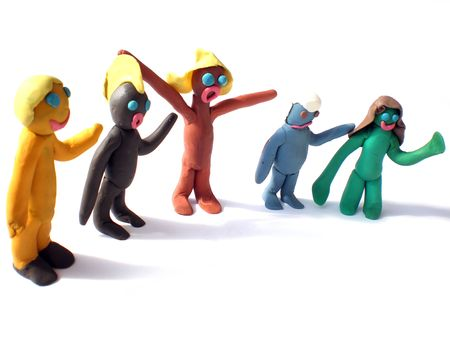 plasticine people figures saying hi on white background photo