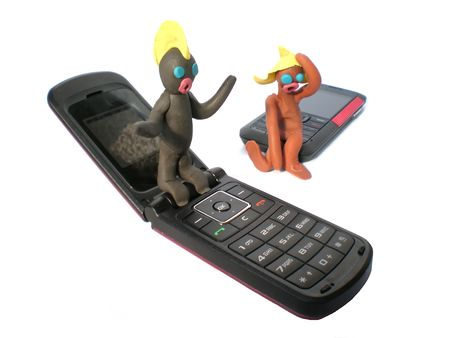plasticine people figures with phones on white background photo