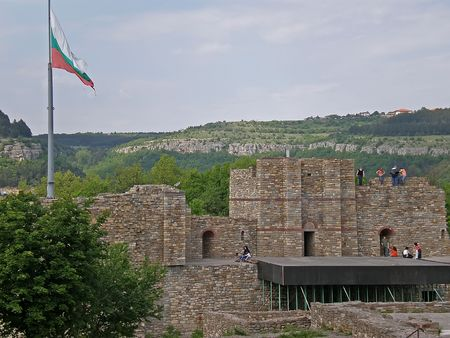 bulwark: Tsarevets fortress ruins in Veliko Turnovo Bulgaria