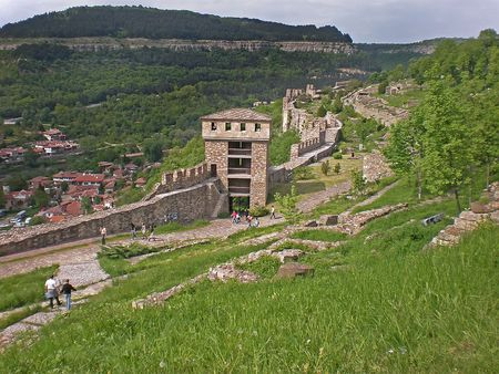 veliko: Tsarevets fortress ruins in Veliko Turnovo Bulgaria