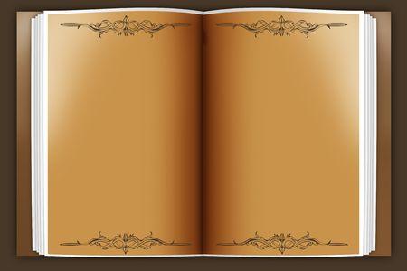 apriva: vecchio libro aperto su un fondo muscoli Archivio Fotografico