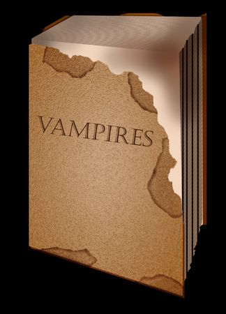 legends: old book vampires opened on a black background