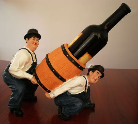wine bottle holder with two men and cask Stock Photo - 3870837