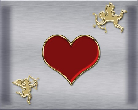 valentine's day golden cupids illustration Stock Illustration - 3991668