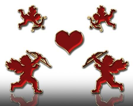 valentine's day red cupids illustration Stock Illustration - 3991664