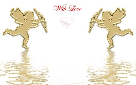 valentines day golden cupids illustration Stock Illustration - 3991673