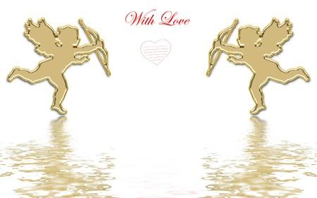 valentines day golden cupids illustration Stock Illustration - 3991673