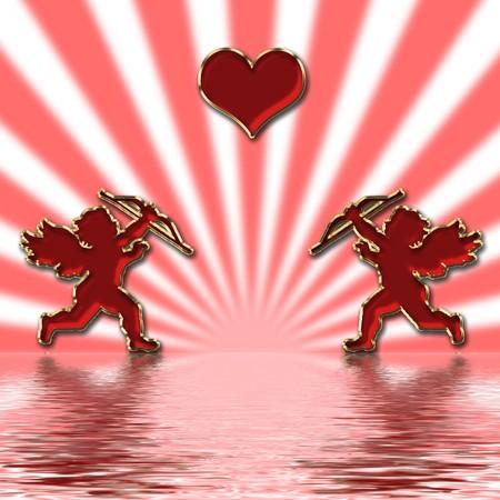 valentines day red cupids illustration Stock Illustration - 3991672