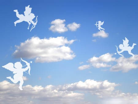 valentines day white cupids on cloudy sky Stock Photo