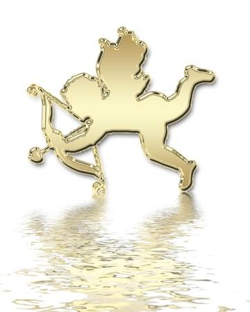 valentines day golden cupid illustration Standard-Bild