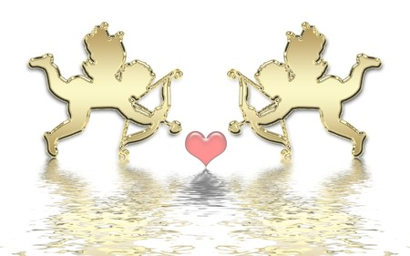 valentines day golden cupids illustration Stock Illustration - 4037246