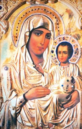Virgin Mary holding baby Jesus icon Stock Photo - 4138040