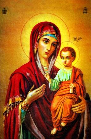 Virgin Mary holding baby Jesus icon Stock Photo