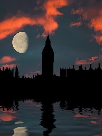 big ben silhouette at sunset photo