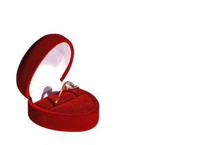 fiance: engagement ring in red box isolated on white background work path included Stock Photo