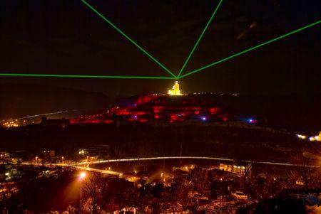bulwark: light show Tsarevets fortress Veliko Turnovo Bulgaria