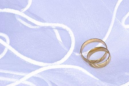 wedding golden rings over bridal veil Stock Photo - 4805716
