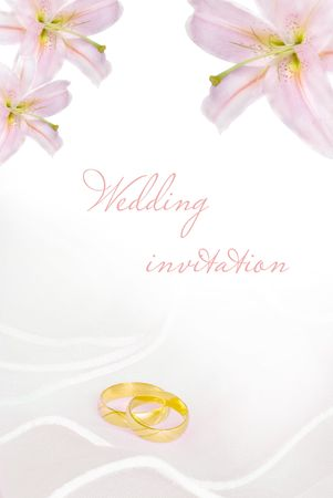 whiteness: wedding invitation or greeting card blank with lily flowers and golden rings