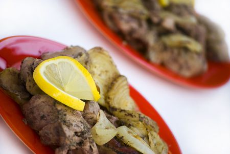 recipe decorated: chicken liver with lemon and onion Stock Photo