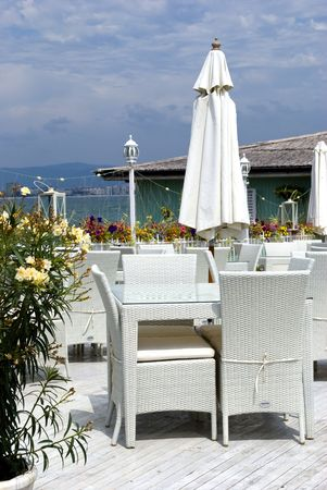 Romantic restaurant in greek style photo