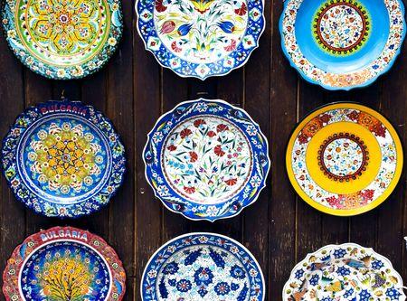 colorful decorated handmade bulgarian plates