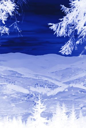 snowy winter fairytail in white and blue photo